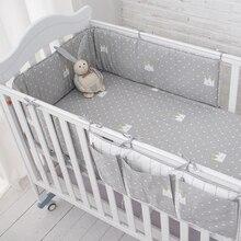 Muslinlife-ensemble de literie petite couronne grise   Ensemble de pare-chocs pour lit de bébé, pour couchage sécuritaire, sac de rangement doux suspendu pour lit de bébé