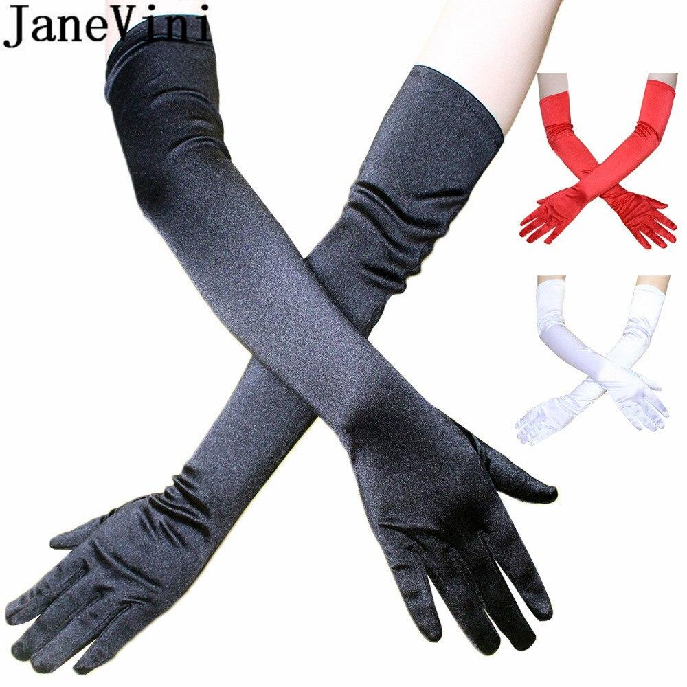 Женские Сатиновые перчатки JaneVini, черные перчатки для свадьбы длиной 55 см, 21,65 дюйма, недорогие перчатки для вечеринок, танцев, свадьбы, Лидер продаж