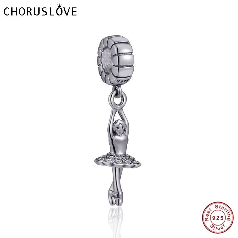 Choruslove nueva plata de ley 925 bailarina colgante Charm Bead fit Pandora pulseras de la joyería para regalo SS3761
