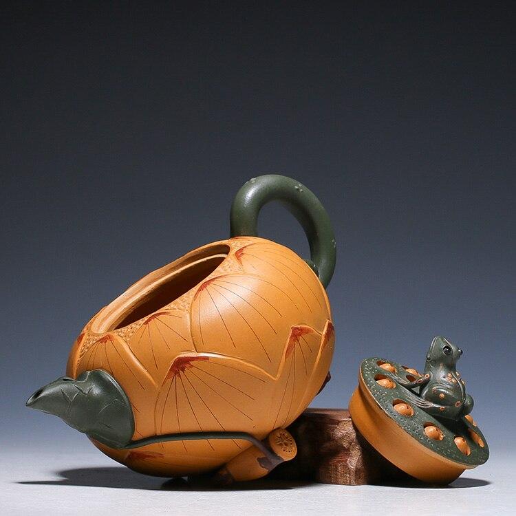 2019 منتج جديد أصيلة ييشينغ إبريق الشاي جميع اليدوية الشهيرة الضفدع لوتس بذور الطين إبريق 420 مللي