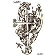 20 stücke Der Teufel Am Kreuz Wasserdicht Temporäre Tätowierung sticker Flash-Tattoo Tatuajes Tatoo Temporäre Aufkleber Männer Adesivo
