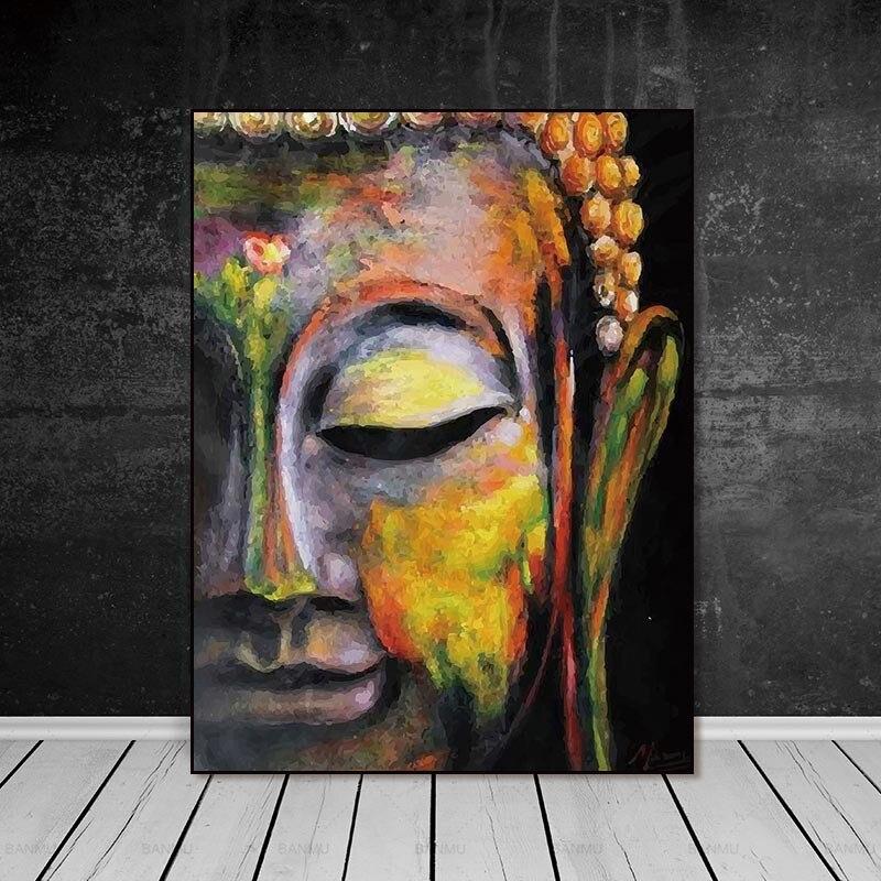 Imágenes artísticas de pared lienzo pintura hogar Decoración de pared decoración de carteles para sala de estar impresiones vívidas Cara de Buda en lienzo sin marco