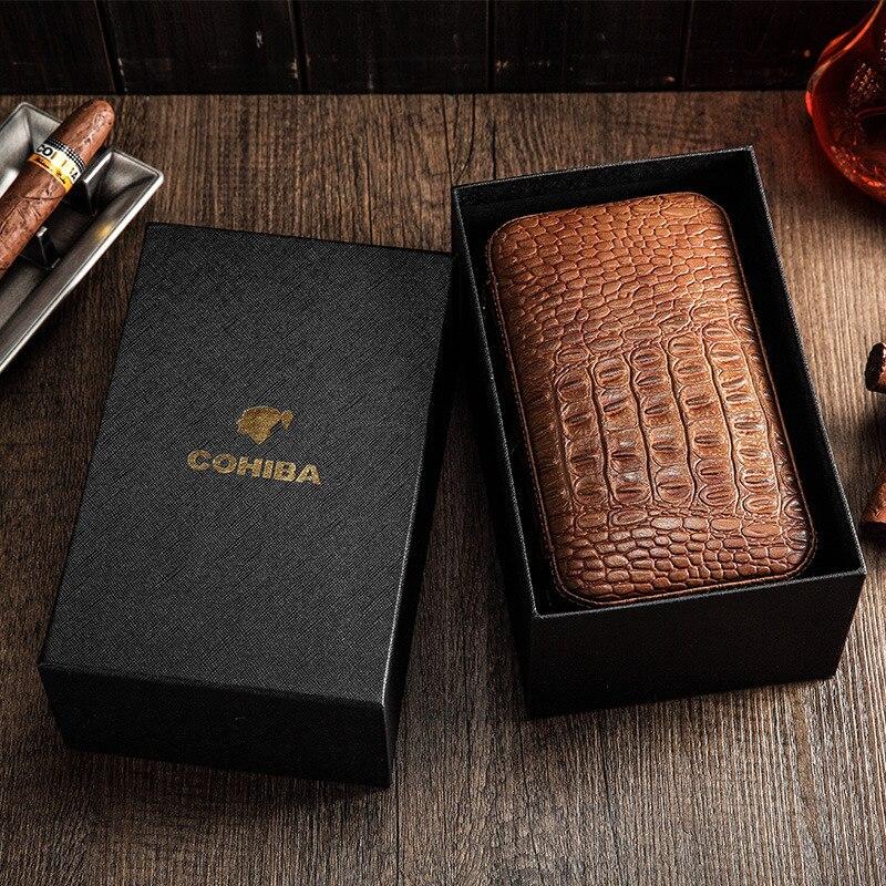 COHIBA Cigars Box Cedar Wood Cigar Humidor Travel Portable Leather Cigar Case Humidifier Humidor Box enlarge