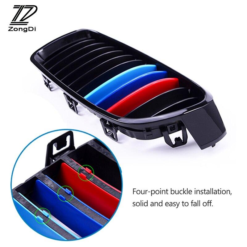 ZD Para BMW X1 F48 E84 X3 F25 X5 F15 E70 X4 F26 X6 E71 F16 Acessórios 3 pcs Carro grade dianteira Guarnição Tiras de Esporte Capa Styling