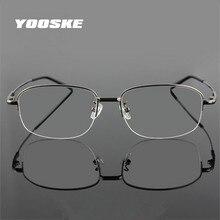 YOOSKE mémoire titane lunettes demi-cadre optique lunettes cadre hommes rétro demi-cadre lunettes Prescription montures optiques