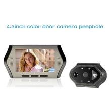 2017 wireless door peephole camera 4.3 inch LCD 0.3M pixels IR night vision PIR Motion Detection multi-language video doorbell