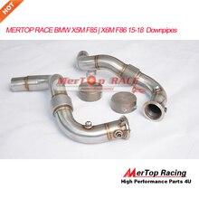 MERTOP RACE 3,0 ''X5M F85 X6M F86 4.4L V8 Turbo Catless Downpipe 2015-2018 con doble cubierta fuerte tubo flexible