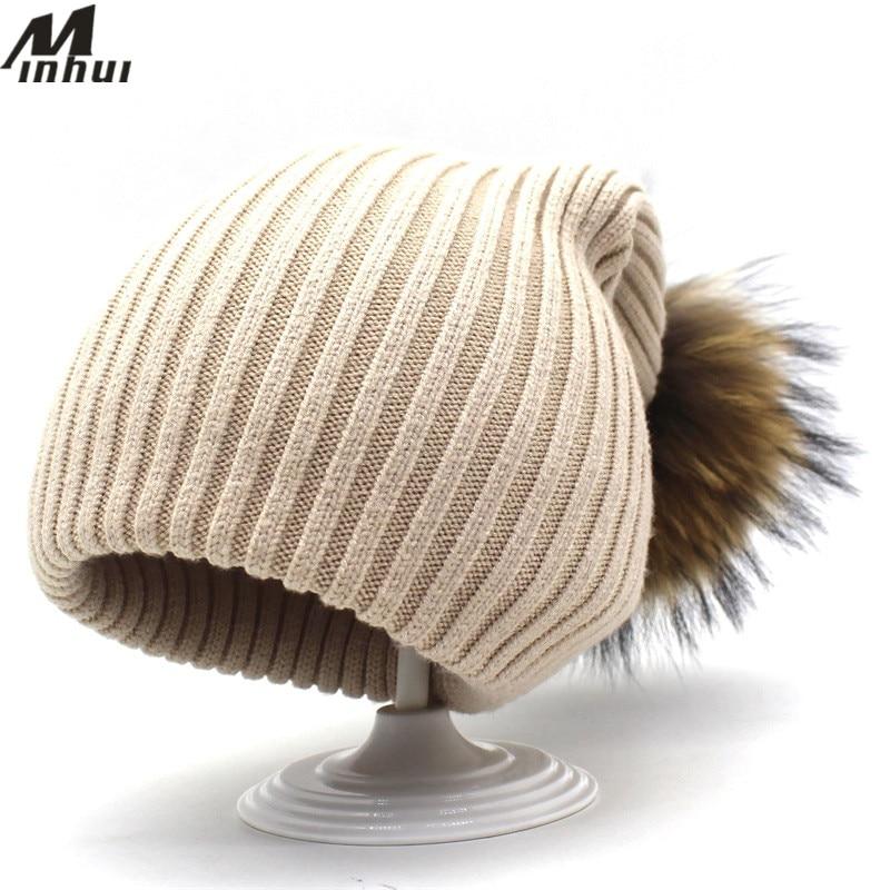 Minhui, sombreros de piel auténtica para mujer, nueva moda, gorros tejidos, gorros, gorros, Gorro de invierno, bufanda, bufanda, bufandas cálidas