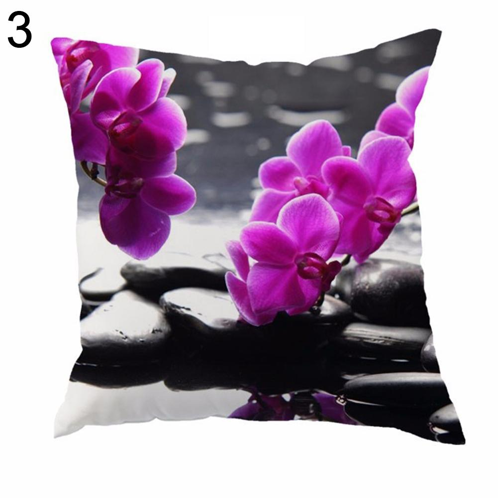 Funda de cojín con dibujo de piedra orquídeas, funda decorativa para el hogar, funda de almohada cuadrada Vintage