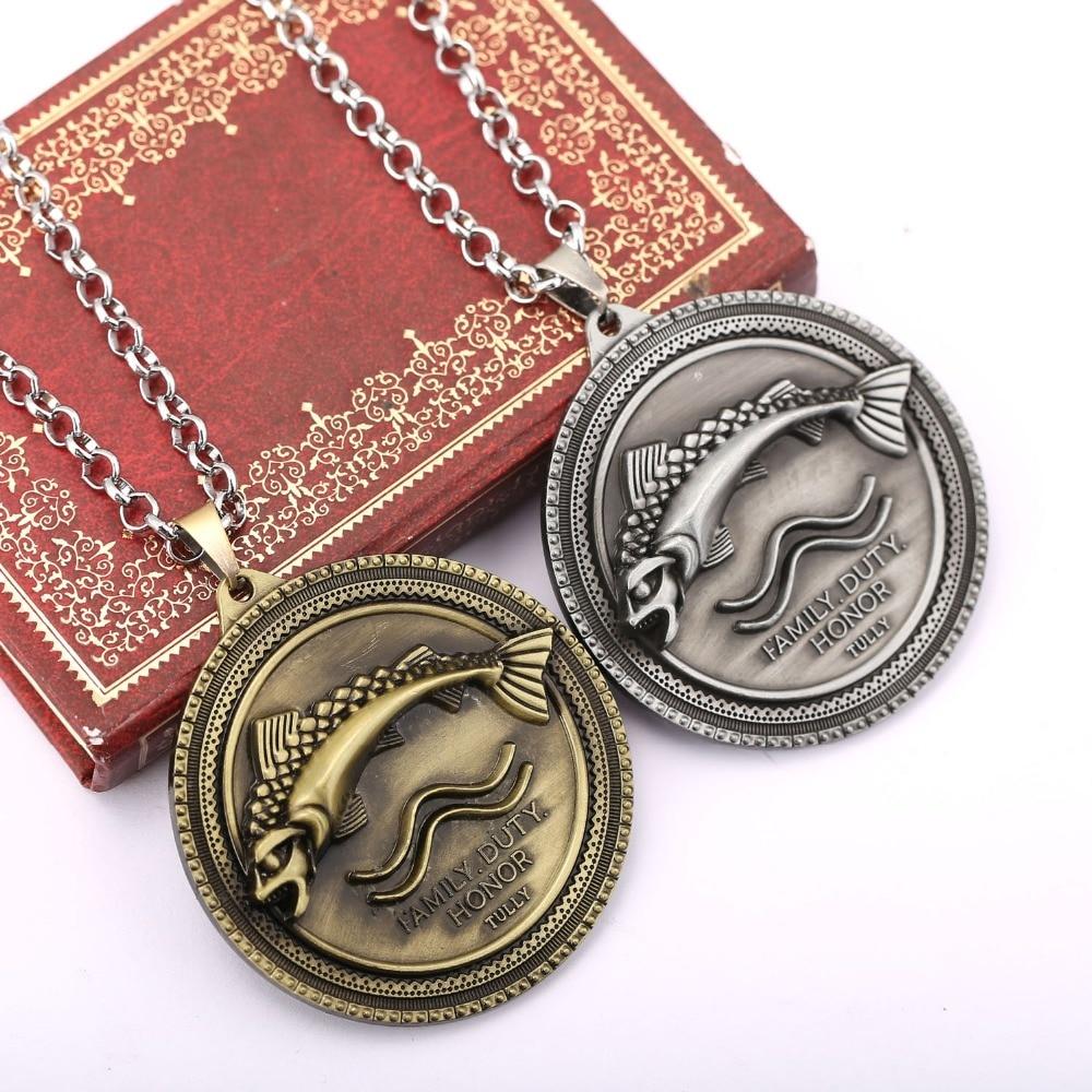 H & F Горячая песня Льда и Огня игра Дом Талли реки рыбы логотип ожерелье с подвеской унисекс Зима идет