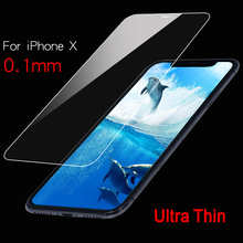 Best Quality Ultra Thin 0.1mm 9H Tempered Glass For iPhone X XS 11 12 Pro MAX XR 6 6s 7 8 Plus Screen Protector Slim Film