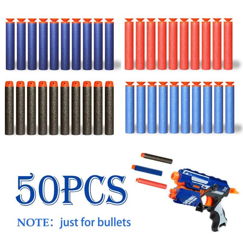 50 unids/set hueco cabeza redonda de espuma suave bala plástico militar Sucker para juguete NERF Gun arma para regalo balas de juguete para niños
