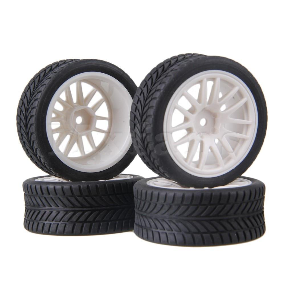 Mxfans 4 x RC1:10 On Road Car Single Oriented Rubber Tyre & White 14-Spoke Wheel Rim