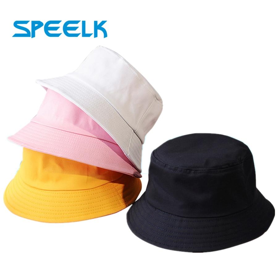 New Uni Cotton Bucket Hats Women Summer Sunscreen Panama Hat Men Pure Color Sunbonnet Fedoras Outdoor Fisherman Hat Beach Cap