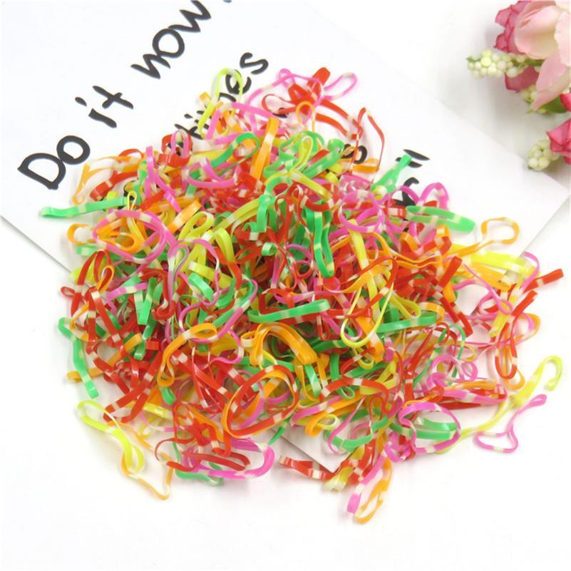 Около 1000 шт./лот, модные разноцветные эластичные резинки для волос для девочек, ручная работа, резинки для волос, Креативные аксессуары для волос для девочек