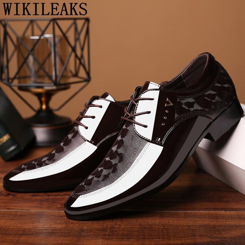 Zapatos marrones de vestir para boda, Zapatos italianos formales de charol para Hombre, Zapatos elegantes para Hombre, Zapatos clásicos para Hombre, Bona
