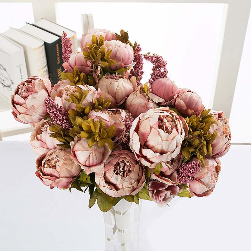 Peônia de seda flor artificial flores 13 cabeças peônia europeia falso casamento noiva bouquet interior casa decoração festa