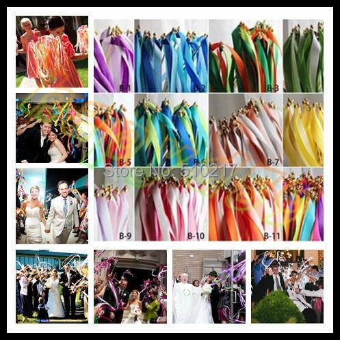 400pcs wedding 3 ribbon wand with bell wedding confetti stream ribbon sticks magic wands fairy stick party banners decoration