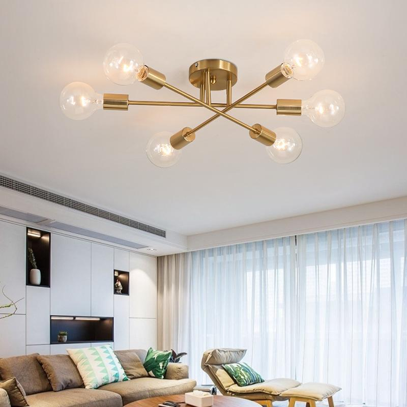Современная люстра-спутник, осветительная арматура, Скандинавское полусмывное крепление, потолочная лампа, матовая, античное золото, освещение, 6-Свет, домашний декор