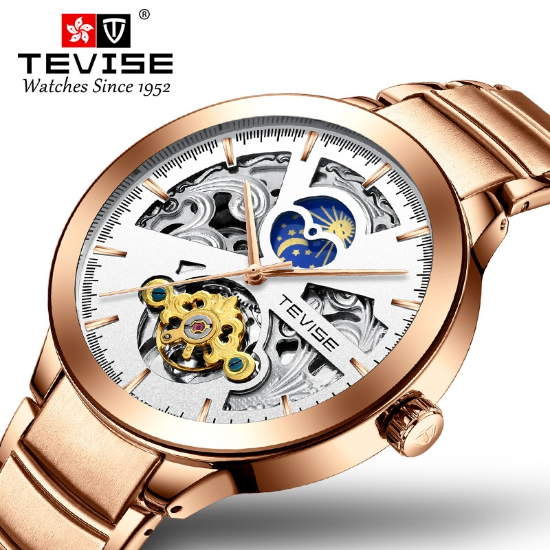TEVISE Men Watch Moon Phase Automatic Watch Skeleton Mechanical Watch Tourbillon Wristwatch Mens Fre