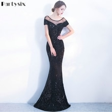 Partysix Elastic Sequins Dress Backless Elegant Eevning Party Long Dress