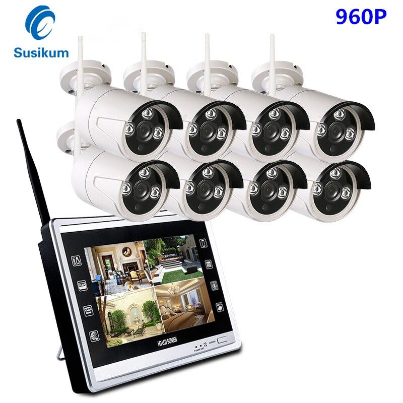 960P seguridad inalámbrica cámara IP CCTV sistema NVR Monitor LCD de 12,5...