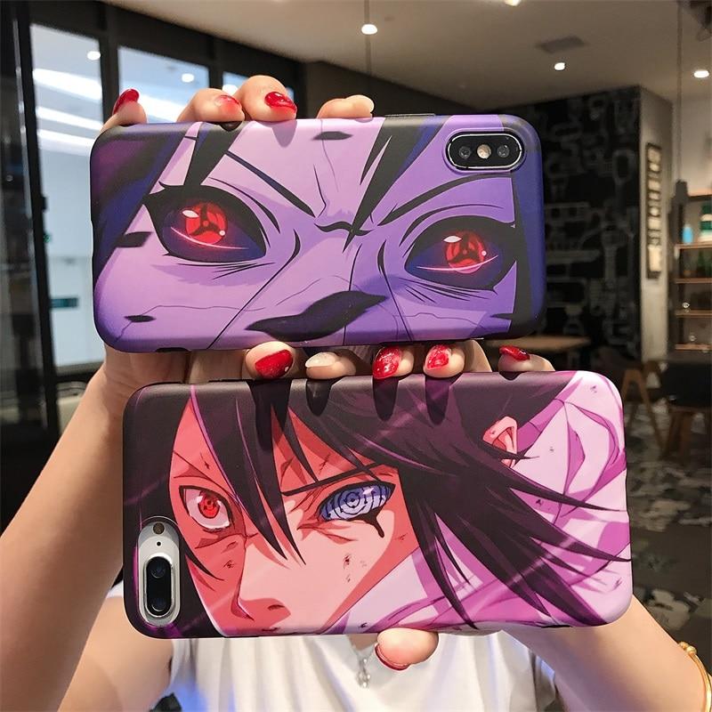 Tendencia Naruto para hombres caso para iPhone X XS X MAX XR 6 S 6 7 8 Plus de dibujos animados Kakashi Sasuke ojo Anime IMD cubierta suave de silicona