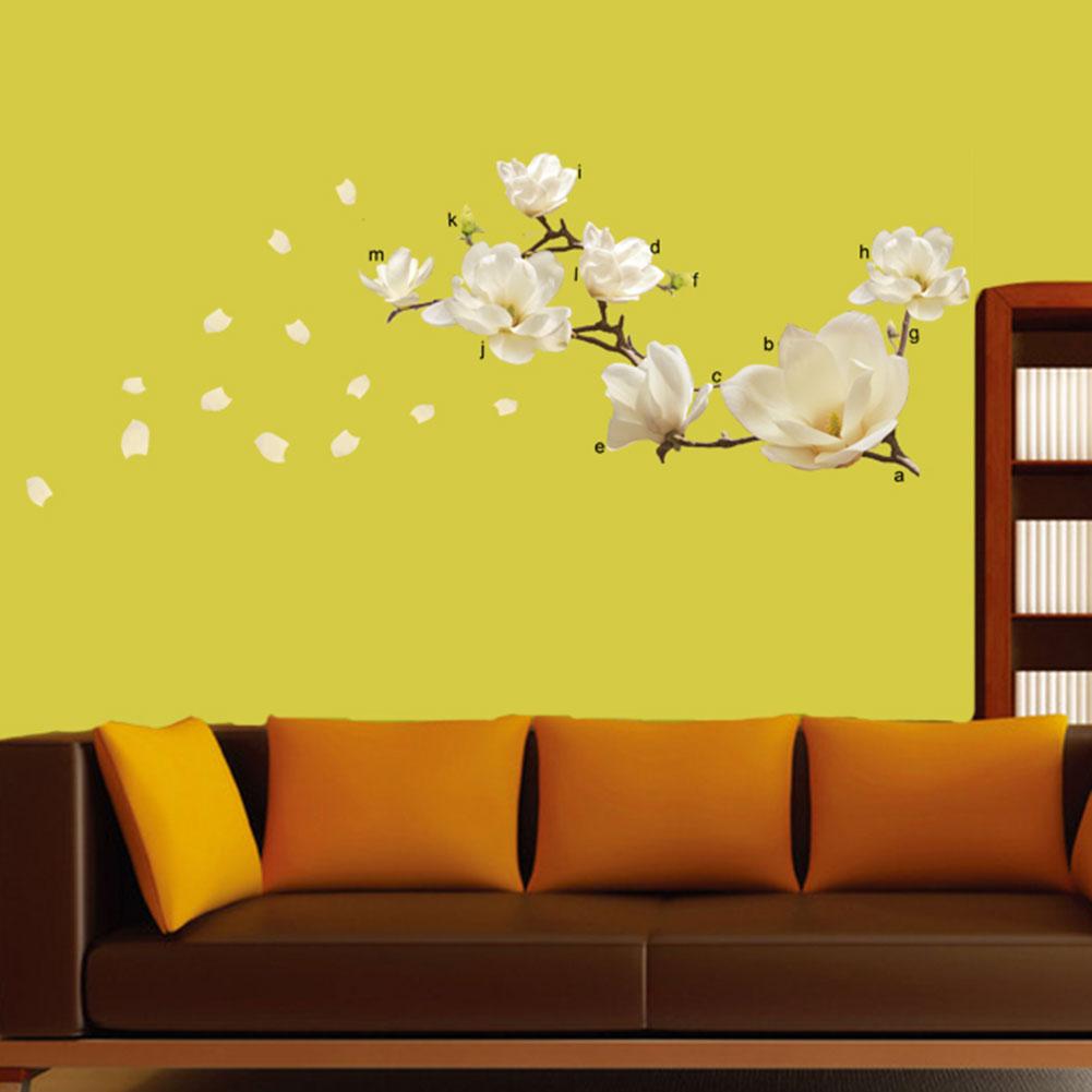 Съемные Виниловые наклейки на стену, водонепроницаемый декор для комнаты магнолии, сделай сам, ПВХ, наклейки для дома, декоративные наклейк...