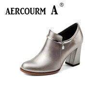 Aercourm و الخريف النساء الأحذية الجلدية حقيقية 7.5 سنتيمتر ارتفاع كعب حذاء فضي اللون الأزرق النساء حزب/عارضة الأحذية حجم 34-43 H934