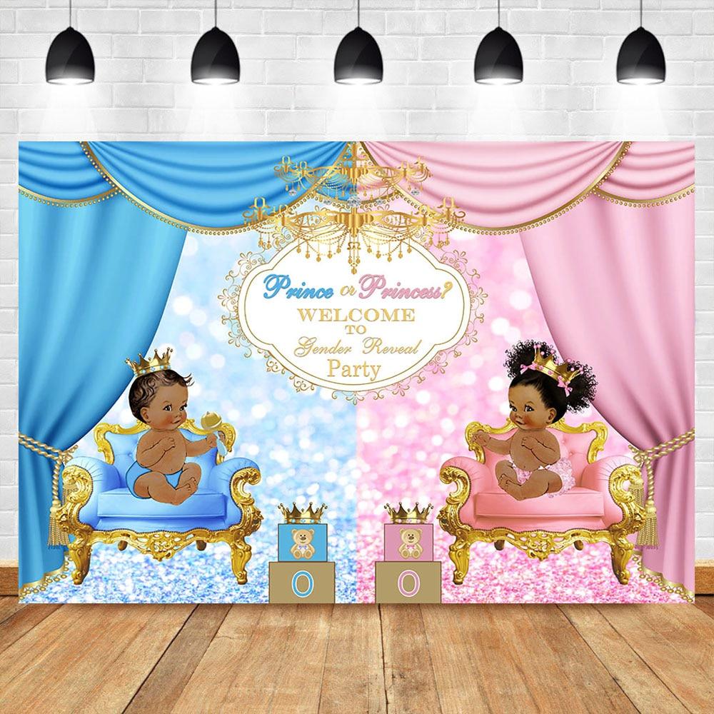 Royal Celebration Gender Reveal Backgdrop Welcome Prince or Princess Baby Shower Party Photo Backdrop Blue or Pink Background
