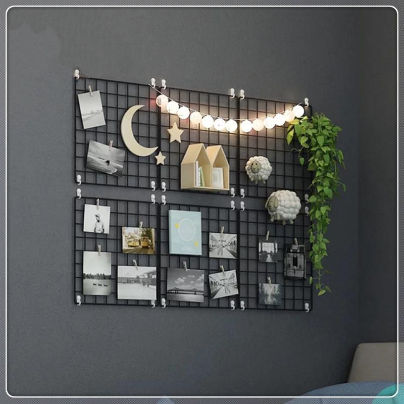 4pcs/lot Decoration Photo Frame Wall Art Display Mesh Storage Shelf Organizer Rack Holder Multi-Function Iron Metal Grid