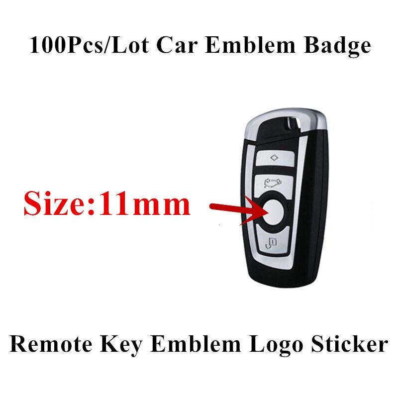 100 Uds 11mm llave de control remoto calcomanía de logo emblema reemplazo para BMW E46 E39 E38 E90 E60 E36 F30 F30 E34 F10 F20 E92 E38 E91 E53 X3 X5