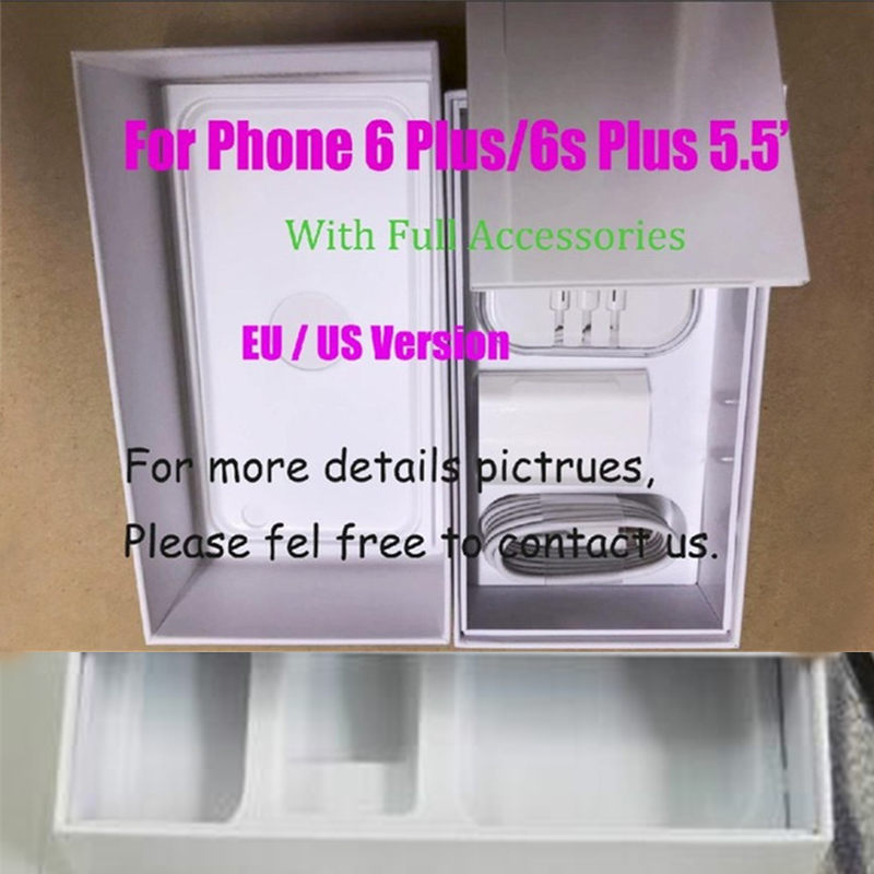 Review 10pcs US/EU/UK Version Phone Packaging Packing Box Case For iPhone 6/6s Plus 5.5 inch With Full Accessories mobile Package Box