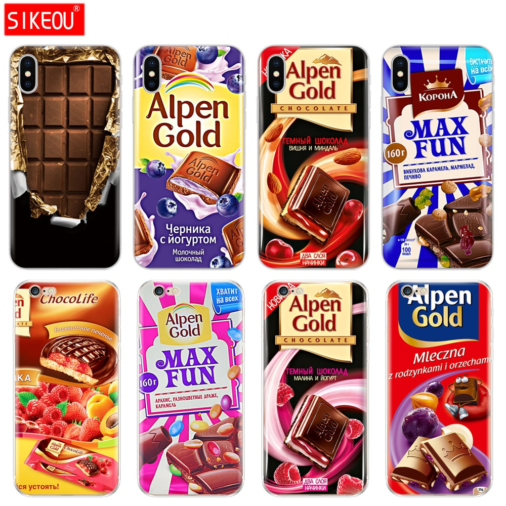 Tampa Do Telefone de Silicone Case Para Iphone 5 6X8 7 6 s 5S SE Plus 10 XR XS Max caso de alimentos de chocolate pacote russa