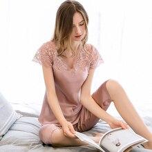 2 pièces femmes 100% vraie soie cardigas2019 Sexy déshabillé en dentelle pyjamas sommeil salon chemise de lit pyjamas Pure soie chemise de nuit costumes