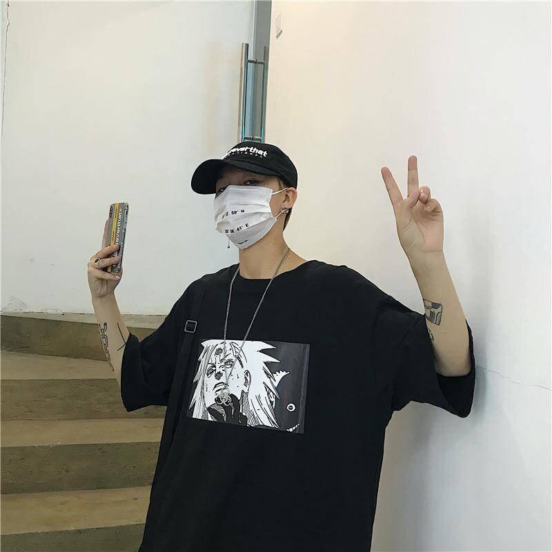 Naruto Tshirt Streetwear Men Women Casual Summer Amine Harajuku T-shirt Cartoon Print Male tops Funny Japan Hip Hop T Shirt Boys