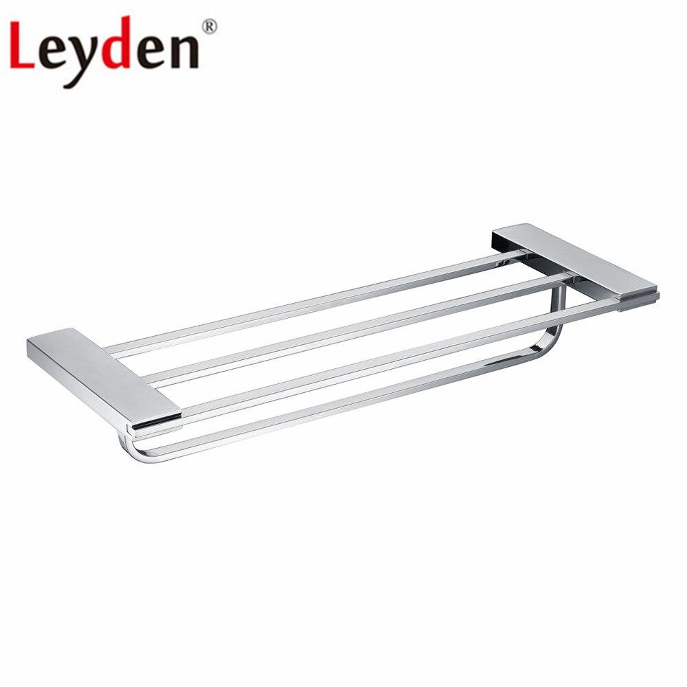 Estante de baño Leyden 304 de acero inoxidable cromado de doble nivel de plata toallero de baño estante de toalla con barra de toalla estante de baño