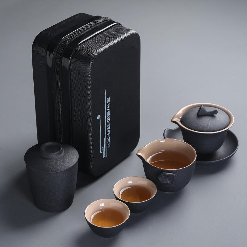 طقم شاي محمول من البورسلين ، فنجان شاي الكونغ فو الصيني ، تقاليد الصينية ، Gaiwan ، الرمل الأرجواني