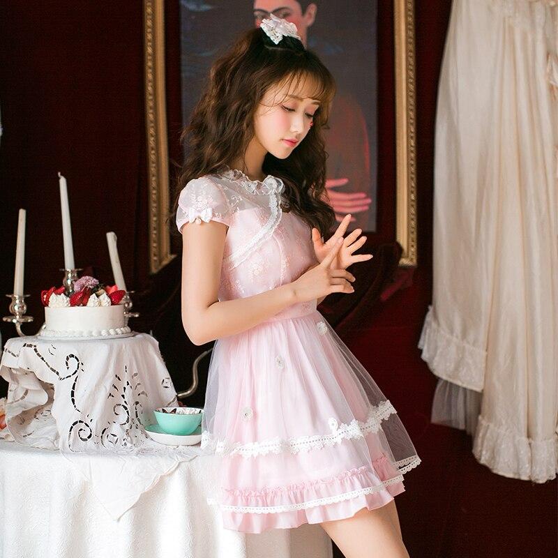 Princess sweet lolita dress Candy rain the new Japanese sweet chiffon dress female small fresh print Princess Dress C22AB7050