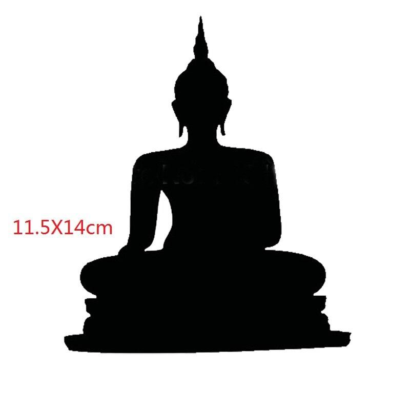 Buda sentado Buda India budismo religión etiqueta de la pared etiqueta de vinilo para coche parachoques ventana negro plata 14X11,5 cm