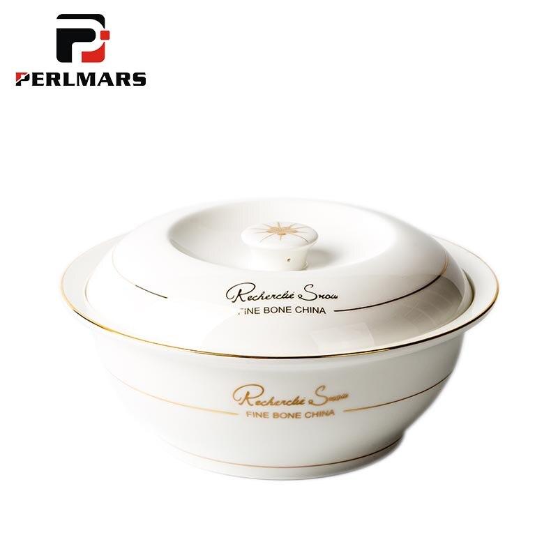 9 Inch Kurze Gold Grenze Knochen china Tureens mit Deckel Kit Möbel Keramik Geschirr Große Suppe Topf Reis Töpfe Obst salat Schalen