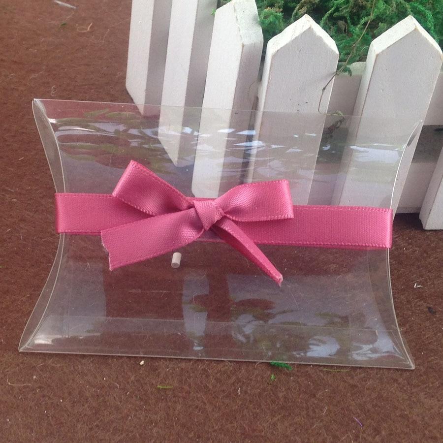 2016 NewClear PVC Pillow Box & pink Ribbon  Wedding Favor Bridal Gift Box 1lot=50pcs box +50 pcs ribbon Custom Logo Moq  1000