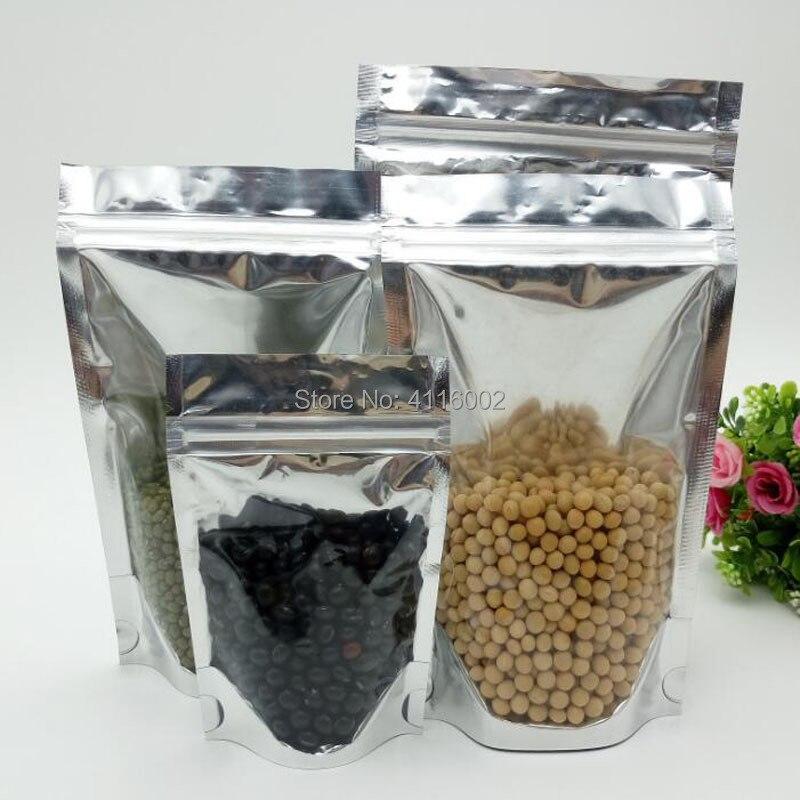 1000 Uds. Bolsa de embalaje de plástico transparente de aluminio de 15x22 + 4cm con cierre Zip Lock Candy Kitchen Food Packaging Bag