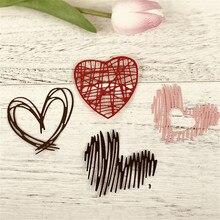 4 pièces en métal Album Photo amour rayure dossier matrices de découpe décor artisanat papier pour bricolage carte gaufrage matrices