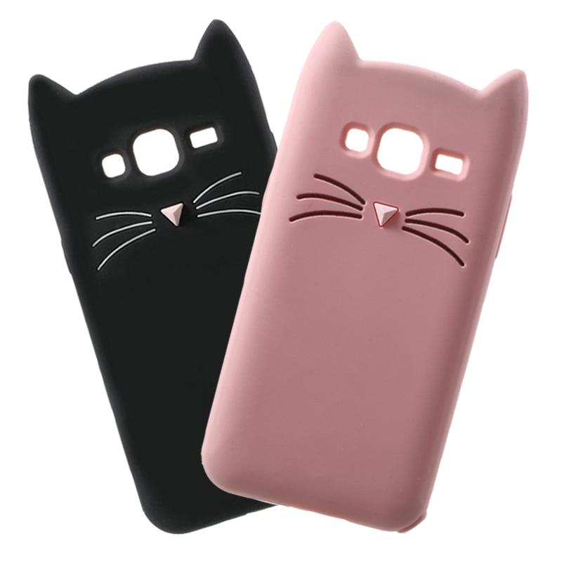 חמוד 3D זקן מצויר חתול סיליקון רך מקרה טלפון עבור Samsung Galaxy J1 J3 J5 J7 A3 A5 A7 2017 2016 2015 Core גרנד ראש כיסוי