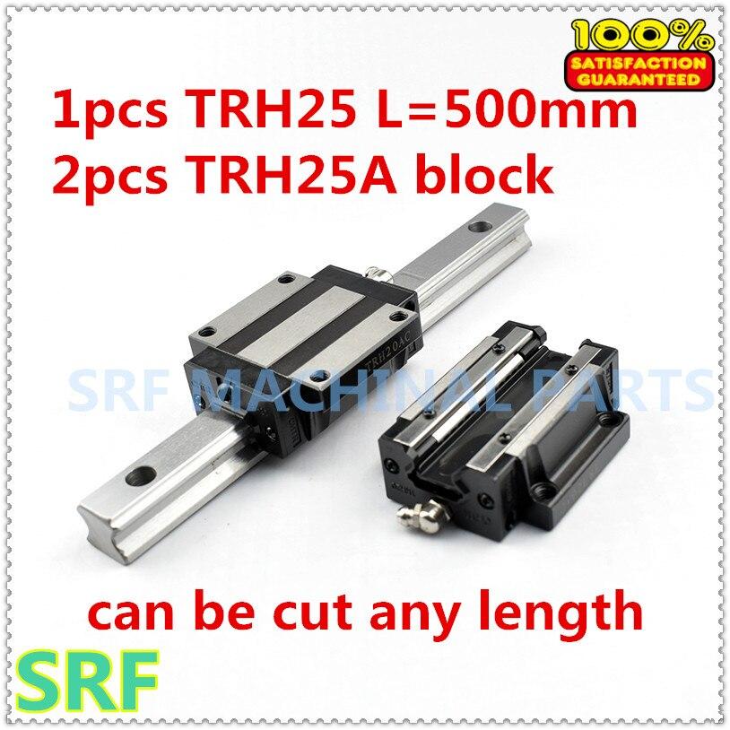 1 قطعة خطي السكك الحديدية TRH25 L = 500 مللي متر دليل خطي السكك الحديدية + 2 قطعة TRH25A شفة كتلة شريحة ل CNC جزء
