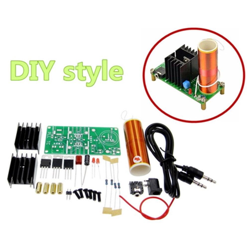 1kit DIY Mini bobina de Tesla Kit 15W Mini música altavoz de plasma de bobina de Tesla transmisión inalámbrica DC 15-24V