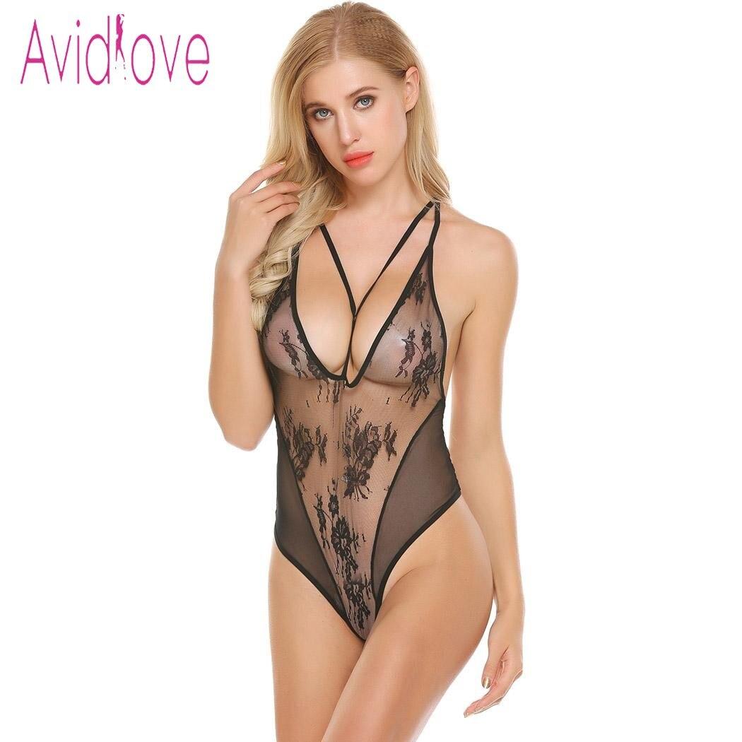 Avidlove 2018 nueva lencería Sexy caliente erótica ropa interior Mujer encaje espagueti Correa Chemise Langeri Negligee traje sexual