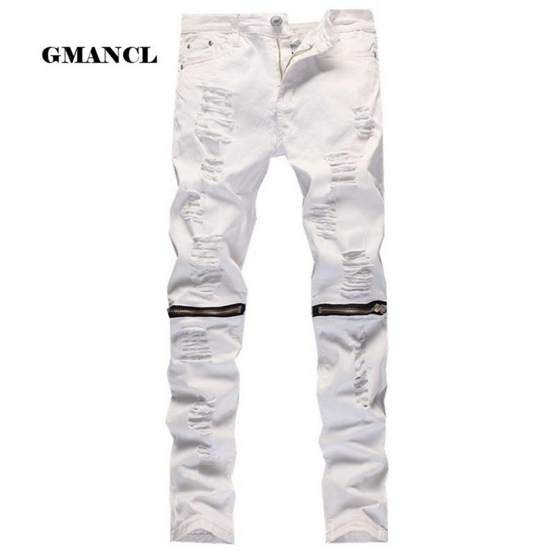 2017 Red White Black Ripped Denim Pant Knee Hole Zipper Biker Jeans Men Slim Skinny Destroyed Torn Jean Pants Hip-Hop swag
