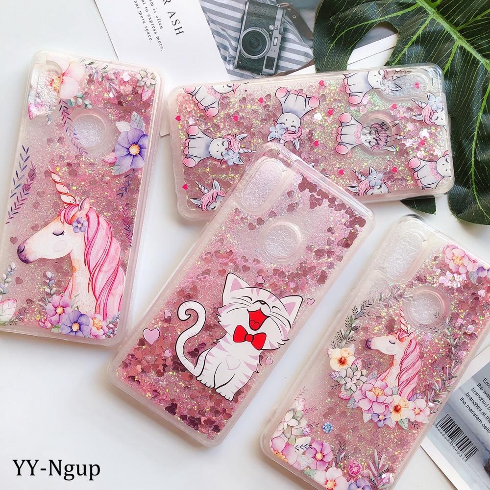 Oneplus 7 Pro 6 T teléfono caso plus 1 + 1 + 6 1 + 7 1 + 6 t Kawaii funda suave unicornio brillo líquido arena movediza para Oneplus 6 6 t 7 Pro